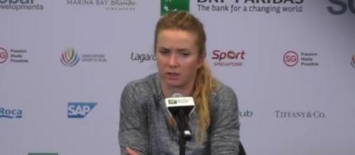 Elina Svitolina during a press conference in Singapore. (Image Credit: WTA channel/YouTube screencap)