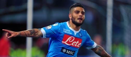 Napoli striker Lorenzo Insigne celebrates his goal in a past match. [Image Credit: Napoli 1926/Flickr]