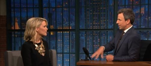 Seth Myers asks Megyn Kelly about Bill O'Reilly. (image credit: Late Night with Seth Myers/YouTube Screencap)