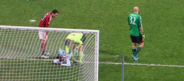 Lazio player on the ground injured in a past match. [Image Credit: Santosh Venkataraman/Flickr]
