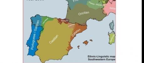 Ethnic-Linguistic map of Southwestern Europe, c. 2000