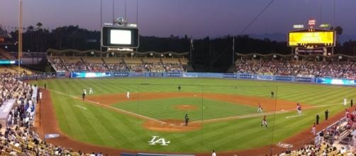 Dodger Stadium, Los Angeles Dodgers vs. Houston Astros [Image by Adam_sk|Wikimedia Commons| Cropped | public domian ]