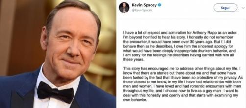 Il tweet in cui Kevin Spacey confessa di essere gay