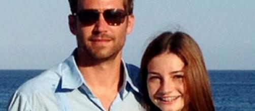 L'attore Paul Walker con sua figlia