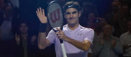 Roger Federer celebrating his first round win in Basel/ Photo: screenshot via ATPWorldTour channel on YouTube