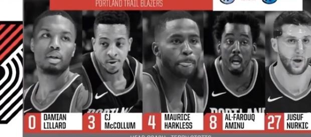 Blazers starting lineup against Pelicans on October 24. -- YouTube screen capture / NBA