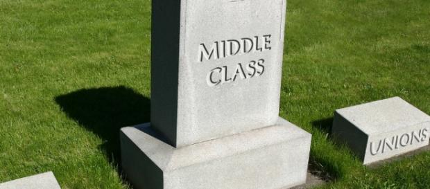 Middle Class Gravestone: Dead by Student Debt. Image via DonkeyHotey - Flickr