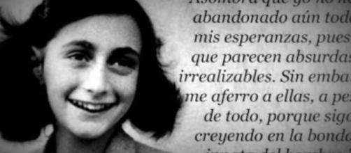 Ana Frank y un fragmento de su famoso Diario