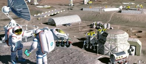 Astronauts could be sustained by oxygen from lunar soil [image courtesy NASA wikimeda commons]