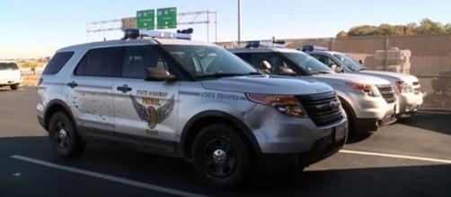 Damaged Ohio State trooper unit. (Image Credit: Fox 8 News Cleveland/YouTube screencap)