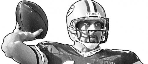 Green Bay Packers Aaron Rodgers [Image by Jack Kurzenknabe|Flickr| Cropped | public domain ]