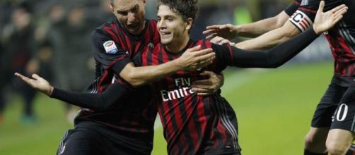 Locatelli (Milan) esulta dopo il gran gol messo a segno nella passata sfida tra Milan e Juventus
