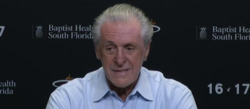 Miami Heat president Pat Riley is optimistic about the future of Justise Winslow and Bam Adebayo -- FOXSportsFlorida FOXSportsSun via YouTube