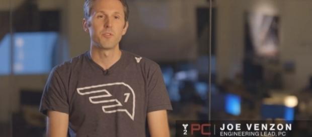 Bungie's Joe Venzon wearing a Seven Seraphs shirt. - YouTube/Bungie