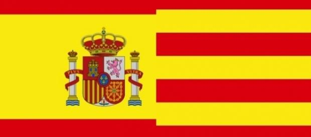 Flag of Spain in the left, flag of Catalonia on the right [Image by Galifardeu|Wikimedia Commons| Cropped and Resized | public domian ]