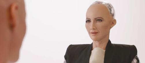 Many people argue that the robot now has more rights than most of the country's citizens. [Image via Hanson Robotics/YouTube screencap]