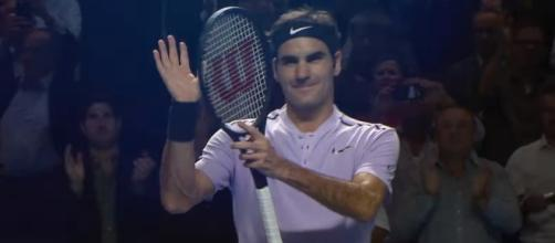 Roger Federer celebrating a win at the 2017 Swiss Indoors Basel event/ Photo: screenshot via Tennis TV channel on YouTube