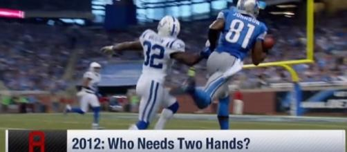Calvin Johnson touchdown catch with Detroit Lions. -- YouTube screen capture / NFL Network