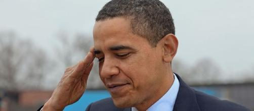 Former President Obama salutes at Andrews Air Base.[image credit;Pete Souza/Wikimedia Commons]