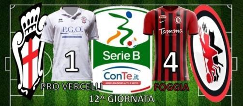 Termina 1-4 il match tra Pro Vercelli e Foggia valido per la 14^ giornata del campionato di Serie B ConTe.it 2017/18
