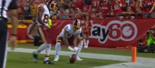 Terrelle Pryor celebrates his first touchdown with the Washington Redskins. -- YouTube screen capture / NFL Network