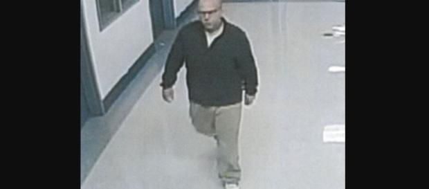 A CCTV video grab of Todd Boyes as he escaped jail. [image courtesy; Dept. of Military Affairs and Public Safety]