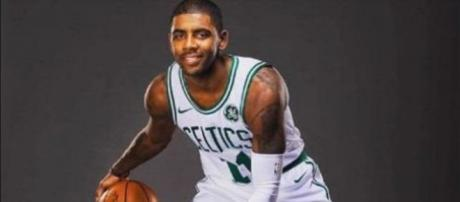 Kyrie Irving in his new Celtics' jersey [CliveParody / YouTube screencap]