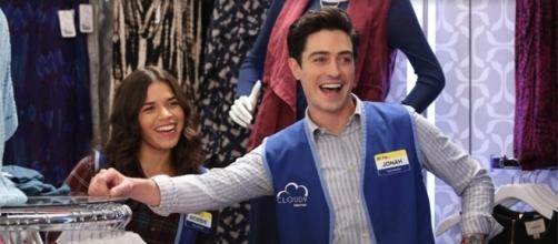 "Amy and Jonah's will-they/won't they relationship continues on ""Superstore"" season 3. (NBC screencap)"