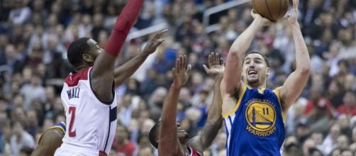 Klay Thompson against the Washington Wizards (c) [Image by Keith Allison / Flickr]