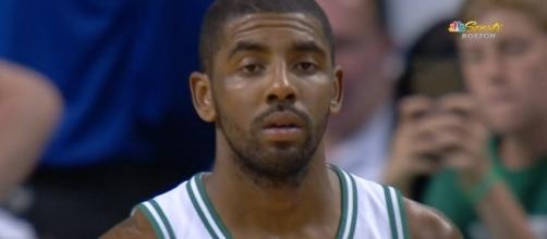 Kyrie Irving made his preseason debut for the Boston Celtics on Monday night in a win over the Charlotte Hornets. [Image via NBA/YouTube]