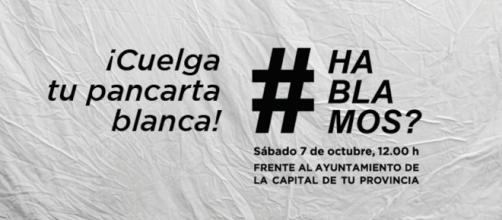Pancarta de la convocatoria impulsada por #Hablamos?