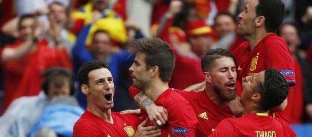 Celebración de un gol de Piqué con la Selección en la pasada Eurocopa
