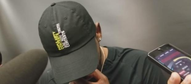 Celtics point guard Kyrie Irving had this cap for his post-game interview -- gwashburn14 via YouTube