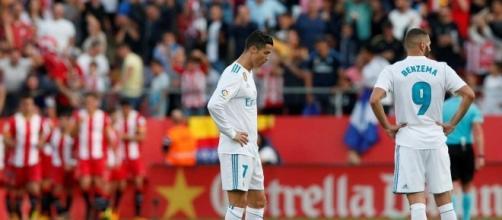 Cristiano Ronaldo y Benzema durante el partido del Girona