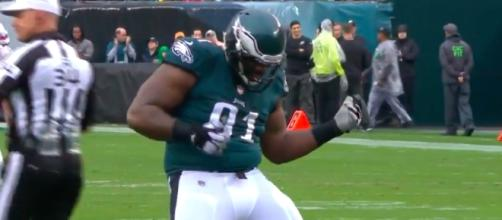 Fletcher Cox celebrates after recording a sack against the 49ers. YouTube screen capture / NFL