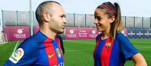 Iniesta y Olga García se ven de igual a igual.