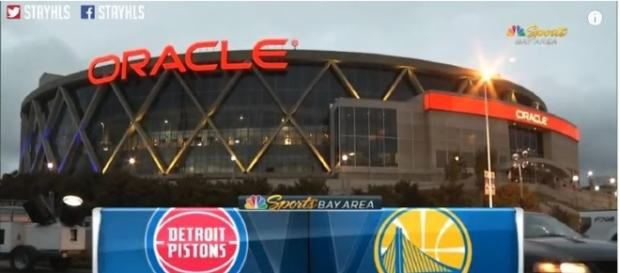 The Golden State Warriors hosted the game at Oracle Arena against the Detroit Pistons. (Image Credit: MLG Highlight/YouTube screencap)