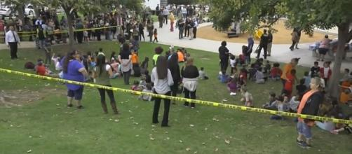 A California elementary school was evacuated after a man took a 70-year-old teacher hostage [Image credit: CBS Los Angeles/YouTube]