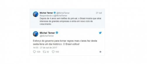 Presidente Michel Temer se manifestando, via Twitter, sobre leilão do pré-sal