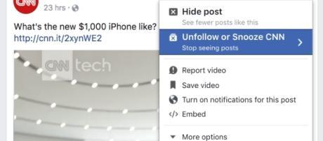 """Ejemplo de Facebook Snooze para """"silenciar"""" a alguien"""