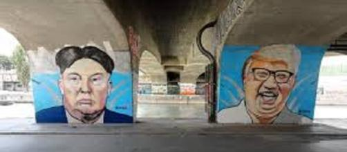 Donald Trump and Kim Jong-un graffiti. Image Credit: Bwag/ Wikipedia Creative Commons