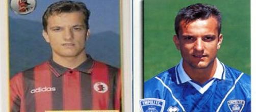 Il doppio ex Massimiliano Cappellini con le maglie di Foggia ed Empoli
