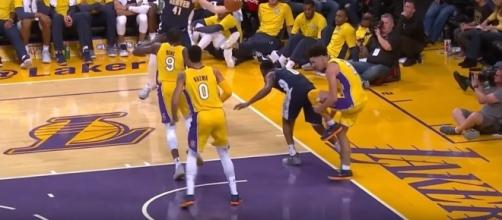 Lonzo Ball sprained his left ankle versus the Nuggets -- Ximo Pierto via YouTube