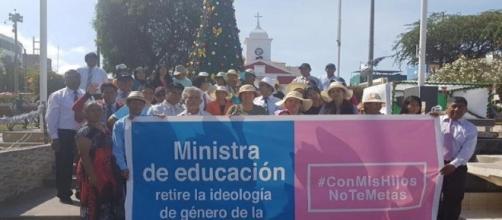 Manifestanti peruviani no-gender