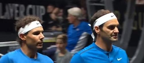 Nadal and Federer playing doubles together at 2017 Laver Cup. (Image Credit Photo: GrandSlam Highlights III channel/ YouTube)