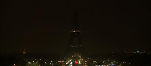 The Eiffel Tower in Paris goes dark for two tragedies, in Las Vegas and Marseilles. (Image Credit: Associated Press/YouTube)