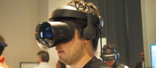 The Samsung Odyssey headset being tested at the Windows Mixed Reality event Tuesday. (Photo Credit: Point Technology/YouTube)
