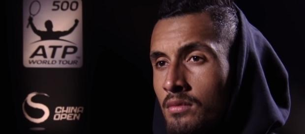 Nick Kyrgios durind a post-match interview in Beijing. (Image Credit: ATPWorldTour channel/YouTube)
