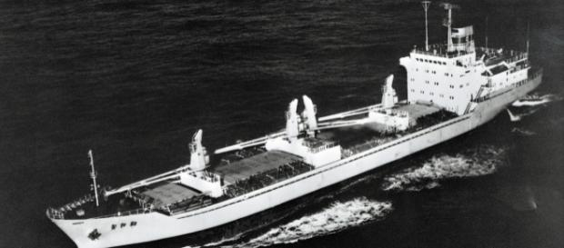 North Korean Cargo Ship [Image by Unknown |Wikimedia Commons| Cropped | public domain ]
