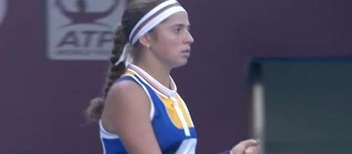 Jelena Ostapenko at 2017 China Open in Beijing (via WTA official channel/YouTube)